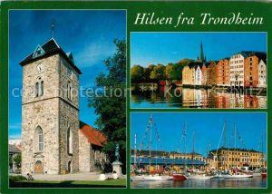 AK / Ansichtskarte Trondheim Turm Haeuserpartie am Wasser Hafen Segelyachten Kat. Trondheim