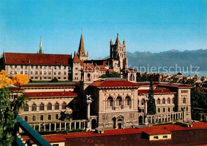 AK / Ansichtskarte Lausanne VD Cathedrale Palais de Rumine ancienne Academie Dent d Oche Alpes Kat. Lausanne