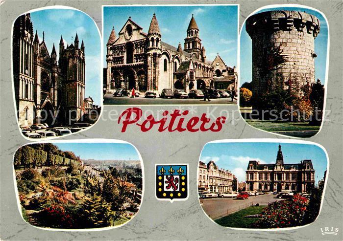 AK / Ansichtskarte Poitiers Vienne Cathedrale St Pierre Notre Dame la Grande Tour du Cordier Parc Blossac Hotel de Ville Kat. Poitiers