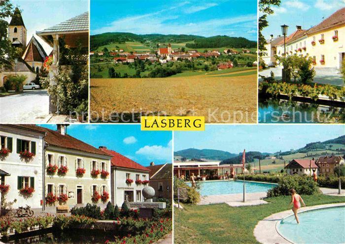 AK / Ansichtskarte Lasberg Teilansichten Landschaftspanorama Freibad Kat. Lasberg