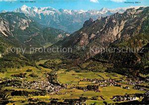 AK / Ansichtskarte Grossgmain Luft und Kneippkurort mit Bayrisch Gmain Alpenpanorama Fliegeraufnahme Kat. Grossgmain