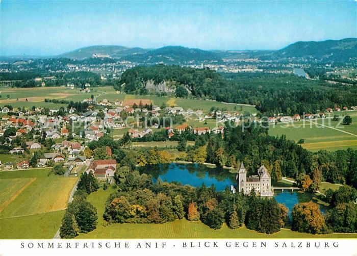AK / Ansichtskarte Anif Sommerfrische Schloss Blick gegen Salzburg Fliegeraufnahme Kat. Anif