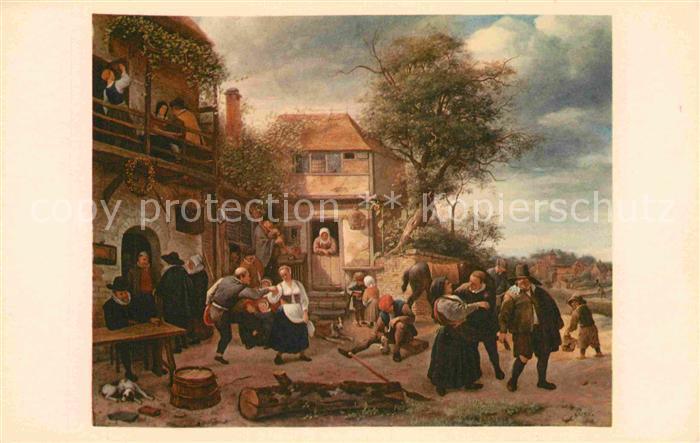 AK / Ansichtskarte Kuenstlerkarte Alte Kuenstler Jan Steen Peasants before an Inn  Kat. Kuenstlerkarte