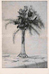 AK / Ansichtskarte Rosen Vase  Kat. Pflanzen