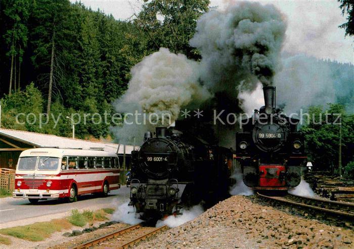 AK / Ansichtskarte Lokomotive Schmalspur Lokomotiven 995904 0 und 996001 4 Deutsche Reichsbahn Harz Selketalbahn  Kat. Eisenbahn