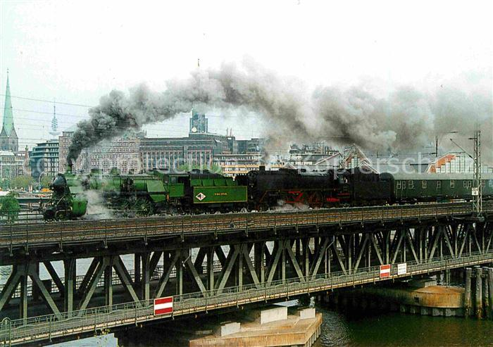 AK / Ansichtskarte Lokomotive Dampf Lokomotiven S 3 6 3673 + 01066 Hamburg Oberhafenbruecke  Kat. Eisenbahn