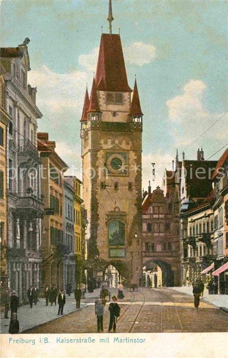 AK / Ansichtskarte Freiburg Breisgau Martinstor Kaiserstrasse Kat. Freiburg im Breisgau