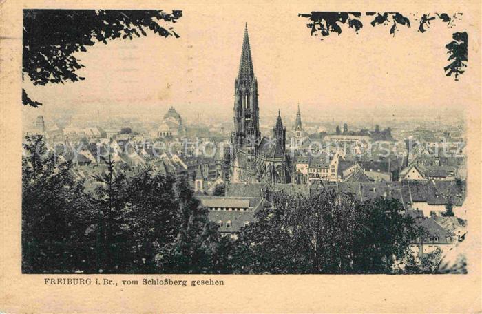 AK / Ansichtskarte Freiburg Breisgau Blick vom Schlossberg mit Muenster Kat. Freiburg im Breisgau