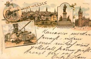 AK / Ansichtskarte Essen Ruhr Rathaus Krupp Denkmal Kanonen Litho Kat. Essen