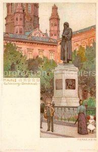 AK / Ansichtskarte Mainz Rhein Gutenberg Denkmal Kuenstlerkarte Franz Hein Litho