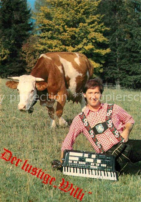 AK / Ansichtskarte Wildermieming Der lustige Willi Musikant Instrument Kuh Kat. Wildermieming