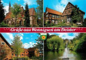 AK / Ansichtskarte Wennigsen Deister Kirche Fachwerkhaus Amtsgericht Muehlenteich Kat. Wennigsen (Deister)