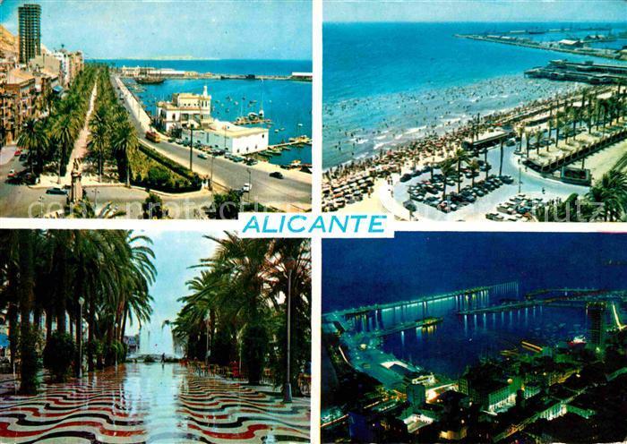 AK / Ansichtskarte Alicante Uferstrasse Strand Palmenallee Hafen Kat. Alicante
