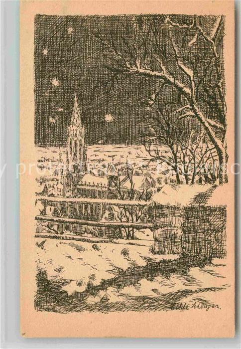 AK / Ansichtskarte Freiburg Breisgau Winternacht mit Muenster Zeichnung Kat. Freiburg im Breisgau