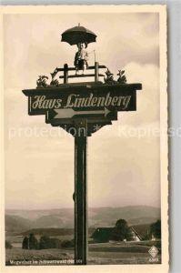 AK / Ansichtskarte Schwarzwald Wegweiser zum Haus Lindenberg Kat. Regionales