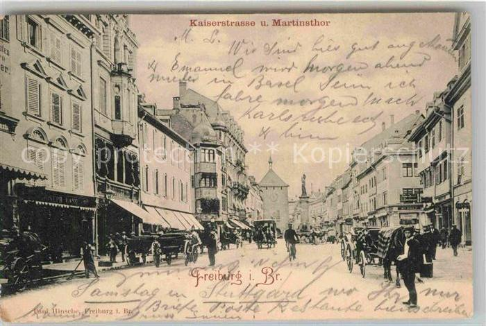 AK / Ansichtskarte Freiburg Breisgau Kaiserstrasse Martinstor Kat. Freiburg im Breisgau
