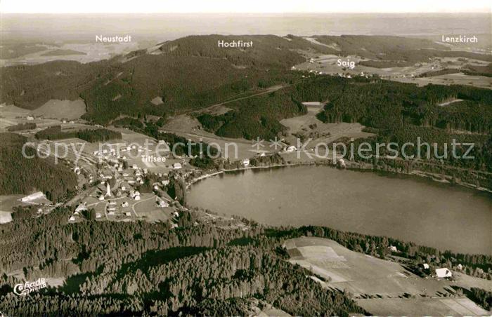 AK / Ansichtskarte Titisee Neustadt Fliegeraufnahme mit Hochfirst Saig und Lenzkirch Kat. Titisee Neustadt