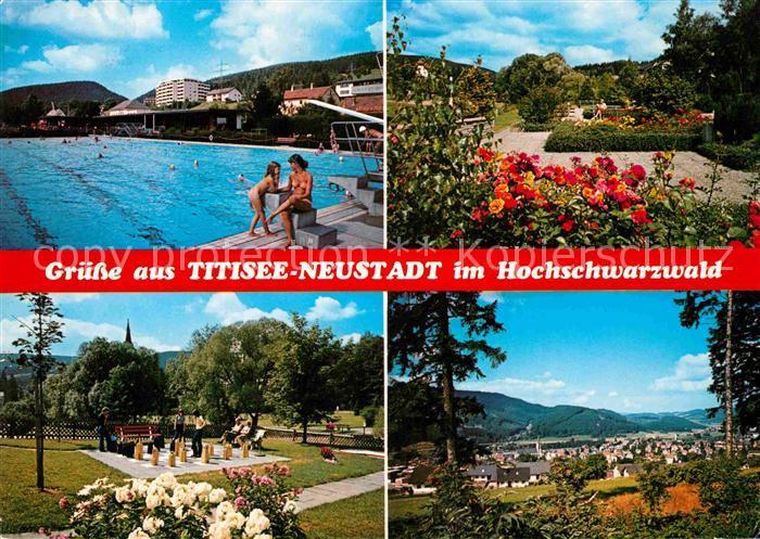 AK / Ansichtskarte Titisee Neustadt Schwimmbad Park Gartenschach Panorama Kat. Titisee Neustadt