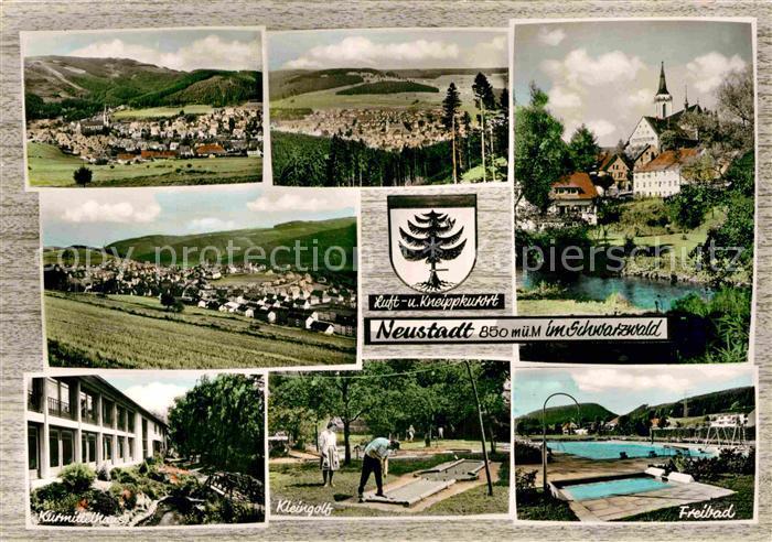 AK / Ansichtskarte Titisee Neustadt Panorama Kirche Kurhaus Kleingolf Freibad Kat. Titisee Neustadt