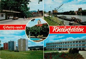 AK / Ansichtskarte Rheinfelden Baden Grenzuebergang Rheinpartie Brunnen Hochhaeuser Gebaeude Kat. Rheinfelden (Baden)