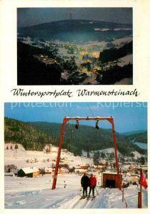 AK / Ansichtskarte Warmensteinach Winterlandschaft Abendstimmung Liftanlage Kat. Warmensteinach Fichtelgebirge