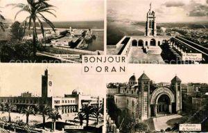 AK / Ansichtskarte Oran Algerie Les Gares Maritimes Basilique de Santa Cruz Cathedrale du Sacre Coeur La Gare CFA Kat. Oran