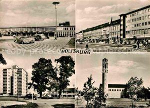 AK / Ansichtskarte Wolfsburg Bahnhof Porschestrasse Hochhaus Altersheim Kirche Kat. Wolfsburg