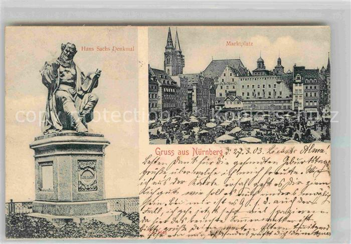 AK / Ansichtskarte Nuernberg Marktplatz Hans Sachs Denkmal Kat. Nuernberg