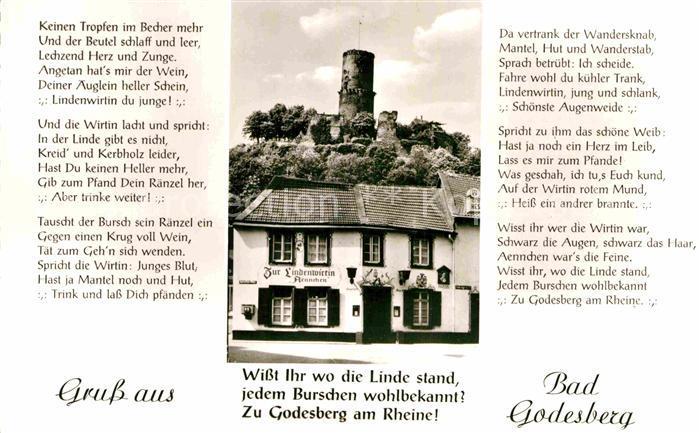AK / Ansichtskarte Bad Godesberg Zur Lindenwirtin Aennchen mit Godesburg Gedicht Kat. Bonn