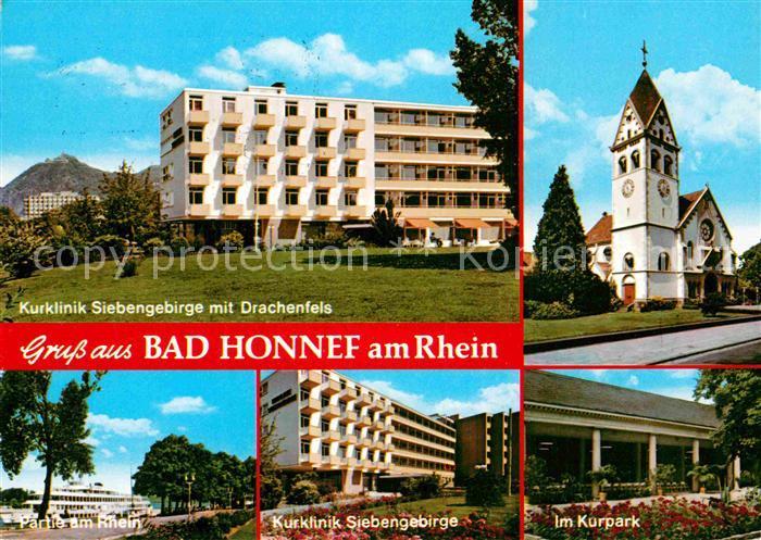 AK / Ansichtskarte Bad Honnef Kurklinik Siebengebirge Drachenfels Kirche Rheinpartie Kurpark Kat. Bad Honnef
