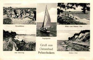 AK / Ansichtskarte Pelzerhaken Ostseebad Strandleben Uferweg Hohes Ufer Segelpartie