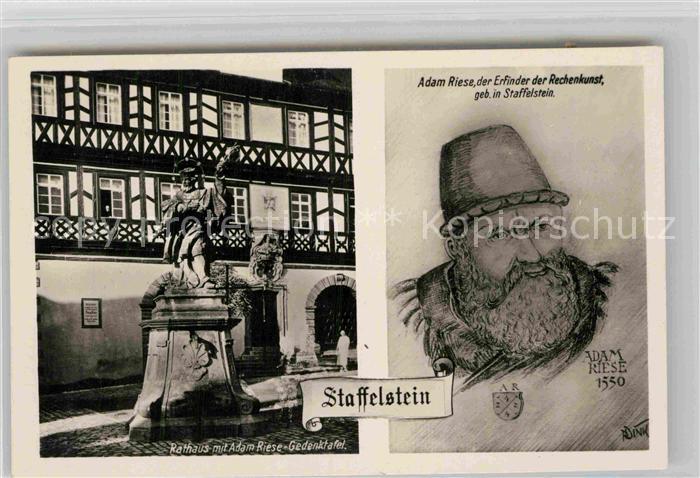 AK / Ansichtskarte Staffelstein Rathaus Adam Riese Gedenktafel Adam Riese Portrait Kat. Bad Staffelstein