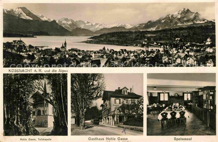 AK / Ansichtskarte Kuessnacht Panorama Hohle Gasse Tellskapelle Gasthaus Hohle Gasse Speisesaal Kat. Kuessnacht