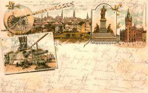AK / Ansichtskarte Essen Ruhr Schiffskanonen Krupp Denkmal Rathaus Litho  Kat. Essen