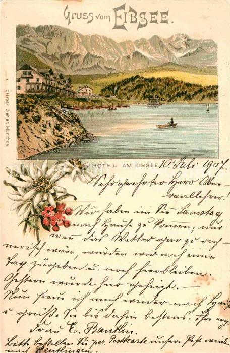 AK / Ansichtskarte Eibsee Hotel am Eibsee Litho  Kat. Grainau
