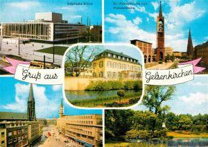AK / Ansichtskarte Gelsenkirchen Staedt Buehne Ev Altstadtkirche und Probsteikirche Strassenpartie Teich Kat. Gelsenkirchen