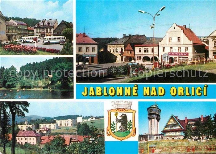 AK / Ansichtskarte Jablonne nad Orlici Namesti Koupaliste Nove bytovky Chata na Suchem vrchu