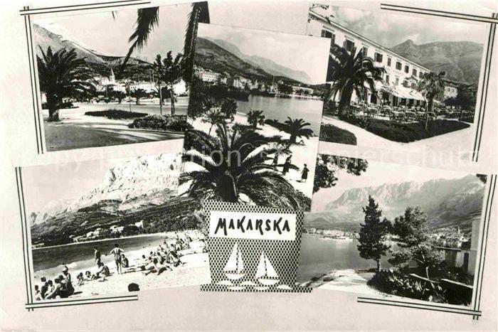 AK / Ansichtskarte Makarska Dalmatien Teilansichten Strand Promenade Hotel Restaurant Kat. Kroatien