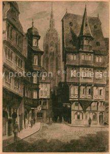 AK / Ansichtskarte Frankfurt Main Altstadt mit Blick auf den Dom Kuenstlerkarte Kat. Frankfurt am Main