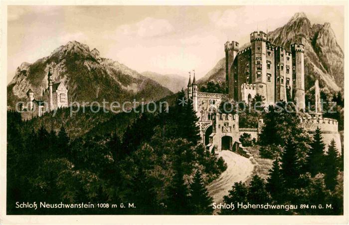 AK / Ansichtskarte Schwangau Schloesser Neuschwanstein und Hohenschwangau Kat. Schwangau