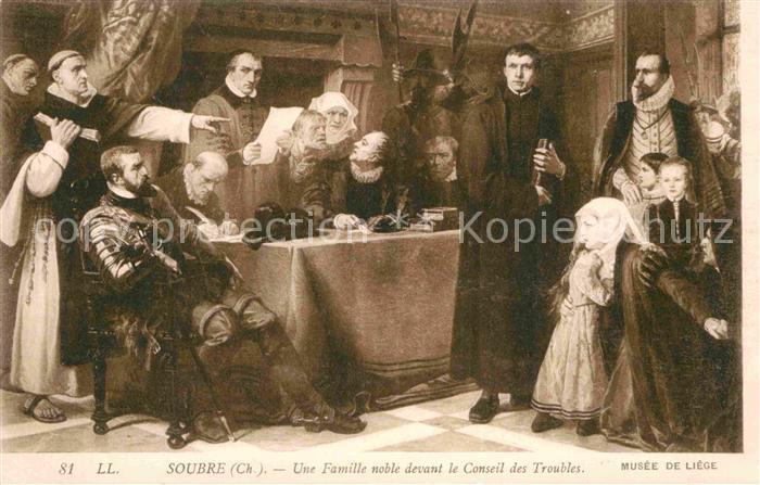 AK / Ansichtskarte Kuenstlerkarte Alte Kuenstler Ch. Soubre  Une Famille noble devant le Conseil des Troubles  Kat. Kuenstlerkarte