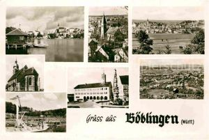 AK / Ansichtskarte Boeblingen Teilansichten Kirche Brunnen Freibad Kat. Boeblingen