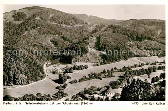 AK / Ansichtskarte Freiburg Breisgau Panorama mit Blick zur Seilschwebebahn auf den Schauinsland Schwarzwald Kat. Freiburg im Breisgau