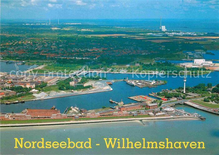 AK / Ansichtskarte Wilhelmshaven Suedstrand 1. Einfahrt Fliegeraufnahme Kat. Wilhelmshaven