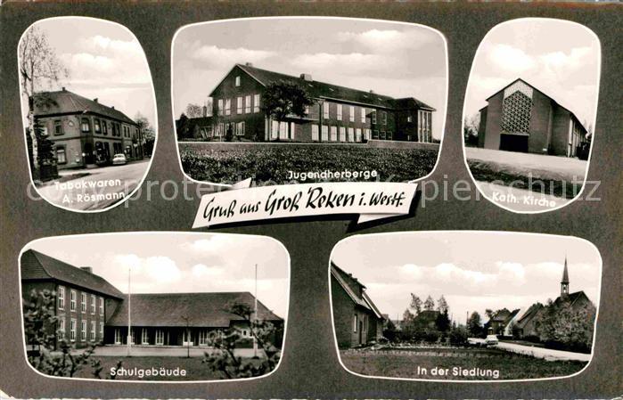 AK / Ansichtskarte Gross Reken Tabakwaren Roesmann Jugendherberge Kath Kirche Schule Siedlung Kat. Reken