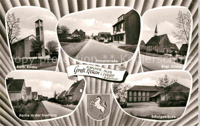 AK / Ansichtskarte Gross Reken Kath und Ev Kirche Hauptstrasse Siedlung Schule Kat. Reken