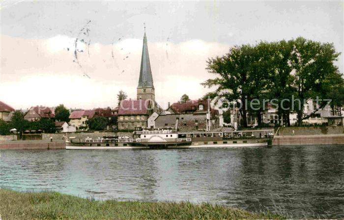 AK / Ansichtskarte Holzminden Weser Teilansicht Dampfer Kirche Kat. Holzminden