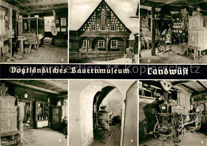 AK / Ansichtskarte Landwuest Vogtlaendisches Bauernmuseum Blockstube Russkueche Kammerwagen Kat. Markneukirchen