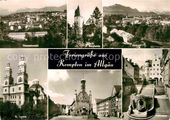 AK / Ansichtskarte Kempten Allgaeu Gesamtansicht Burghalde Altstadt St Lorenz Kirche Rathausplatz Freitreppe Kat. Kempten (Allgaeu)