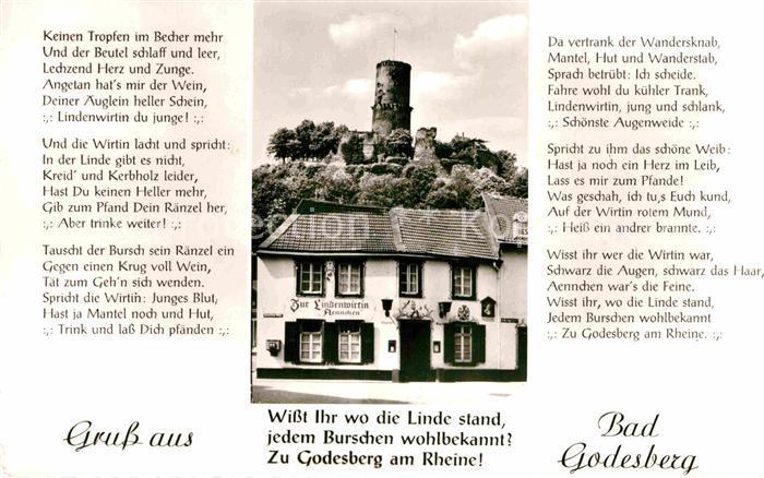AK / Ansichtskarte Bad Godesberg Gaststaette Zur Lindenwirtin Godesburg Gedicht Kat. Bonn